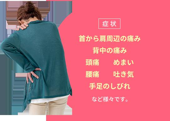 症状:首から肩周辺の痛み、背中の痛み、頭痛、めまい、腰痛、吐き気、手足のしびれなど様々です。